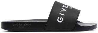 Givenchy black and white logo rubber slides