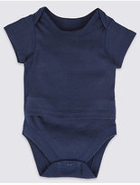 Marks and Spencer Pure Cotton Short Sleeve Bodysuits with Popper Tummy (0-3 Years)