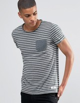 Esprit Roll Sleeve Stripe T-Shirt with Contrast Pocket