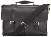 John Lewis Salzburg Leather Briefcase, Black