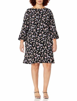 Betsey Johnson Women's Plus Size Floral Bell Sleeve Dress