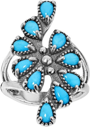 American West Sterling Sleeping Beauty Turquoise Cluster Ring