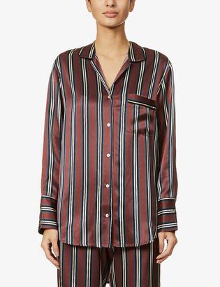 ASCENO Paris striped silk-satin pyjama top