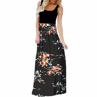 Ulanda Eu Womens Dresses Ulanda-EU Womens Plus Size Maxi Dresses Ladies's Sleeveless Floral Printed Sundress Casual Beach Holiday Party Tank Long Summer Dress Black