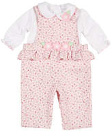 Florence Eiseman Floral-Print Corduroy Overalls w/ Knit Blouse, Size 3-24 Months