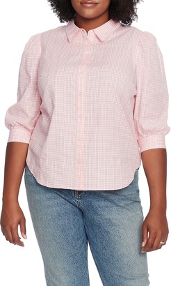 Court & Rowe Embroidered Gingham Cotton Button Up Blouse