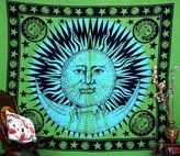 "Handicrunch Indian Ethnic Elephant Blue Peacock Hippie Hippy Blue Mandala Cotton Tapestry Wall Hangings Throw 86x94"""
