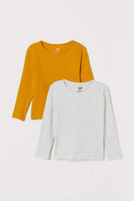 H&M 2-pack Ribbed Jersey Tops - Yellow