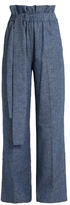 MSGM Chambray paperbag-waist wide-leg trousers