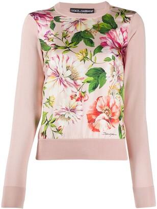 Dolce & Gabbana Floral Print Panel Jumper