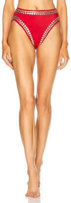 Norma Kamali Stud Bikini Bottom in Red | FWRD
