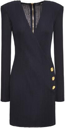 Balmain Wrap-effect Button-embellished Ribbed-knit Mini Dress