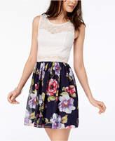 BCX Juniors' Printed Lace A-Line Dress