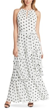 Tahari ASL Dot-Printed Tiered Chiffon Gown