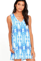 Lucy-Love Lucy Love Bondi Blue and White Print Shift Dress