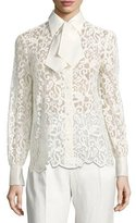 Tory Burch Rosie Long-Sleeve Button-Front Lace Top