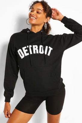 boohoo Detroit Applique Oversized Hoody
