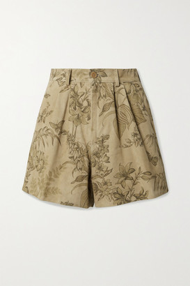 Etro Pleated Floral-print Suede Shorts - Beige