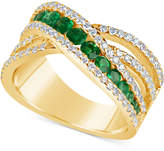 Macy's Emerald (9/10 ct. t.w.) and Diamond (3/4 ct. t.w.) Crisscross Ring in 14k Gold