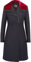 Roberto Cavalli Velvet-trimmed Stretch Wool-blend Twill Coat - Navy