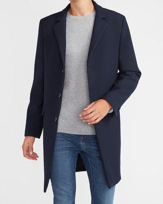 Express Navy Nylon Stretch Top Coat