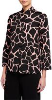 Caroline Rose Petite Fiesta Floral Jacquard Mandarin-Collar Jacket