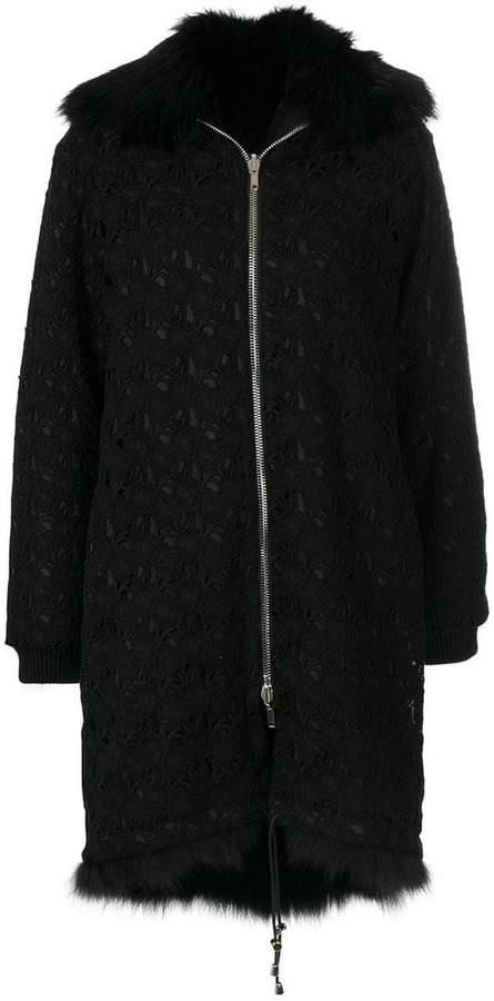 Giambattista Valli fur collar zip coat