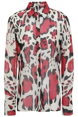 Roberto Cavalli Leopard-print Silk-georgette Shirt