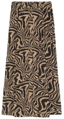 Ganni Zebra Print Crepe Midi Skirt
