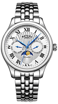Rotary Gb05065/01 Moonphase Day Date Bracelet Strap Watch, Silver