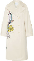 Mira Mikati Appliquéd Cotton-blend Sateen Trench Coat - Beige
