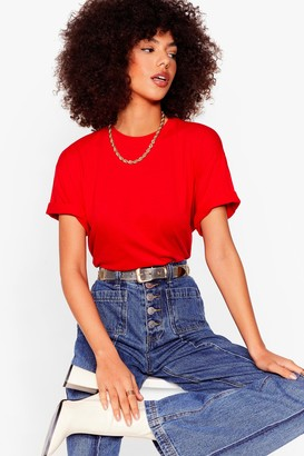 Nasty Gal Womens Face the Facts Relaxed Tee - Red