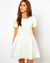 Lashes Of London Smock Dress In Lace With Fluro Contrast