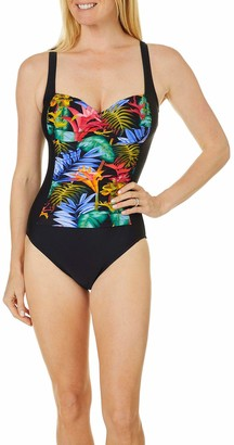 Maxine Of Hollywood Women's Twist Front Shirred One Piece Swimsuit