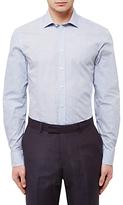 Jaeger Cotton Floral Print Slim Shirt, Light Blue
