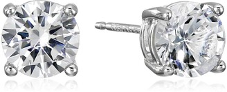 Amazon Essentials Sterling Silver Round Created White Sapphire Birthstone Stud Earrings (April)