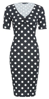 Dorothy Perkins Womens Black And White Ruched Front Spot Bodycon Dress, Black