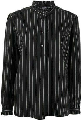 A.P.C. Pinstripe Ruffle Shirt
