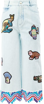 Peter Pilotto Embroidered Patch Cropped Jeans