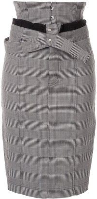 Unravel Project Houndstooth Foldover-Waist Skirt