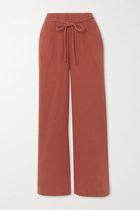 Base Range Wayn Cropped Ribbed Organic Cotton-fleece Wide-leg Pants - Brown