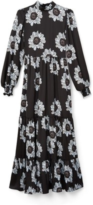 Phoebe Grace Betty Dress With Puffed Long Sleeve & High Neck In Blue & Black Poppy