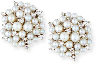 Paul Morelli Lagrange Pearl & Diamond Cluster Earrings