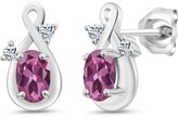 Gem Stone King 1.08 Ct Oval Pink Tourmaline and White Topaz 14k White Gold Earrings