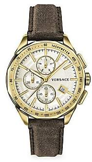 Versace Men's Glaze Stainless Steel IP Gold Leather Strap Watch