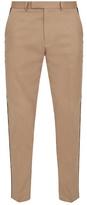 Gucci Slim-leg Web-trimmed Cotton Trousers