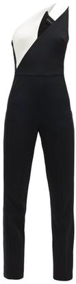 David Koma One-shoulder Contrast-panel Crepe Jumpsuit - Black White