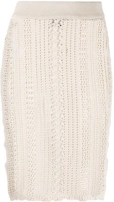Pinko Open-Knit Pencil Skirt