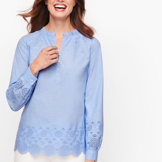 Talbots Embroidered Poplin Popover - End On End