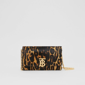 Burberry Small Leopard Print Calf Hair Shoulder Bag